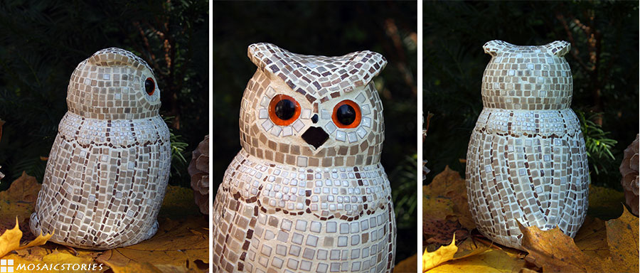 Owl made from mosaic tiles