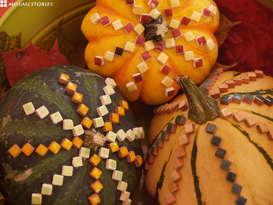 Kürbisse mit Keramik Steine - DIY
