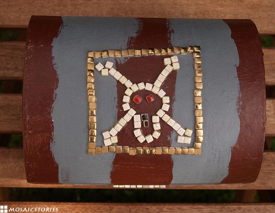 Mosaik Schatztruhe - Piraten Motiv - Echte Goldschicht