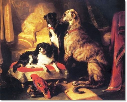 Dash with Lory , Hector and Nero, by Edwin Henry Landseer, 1837