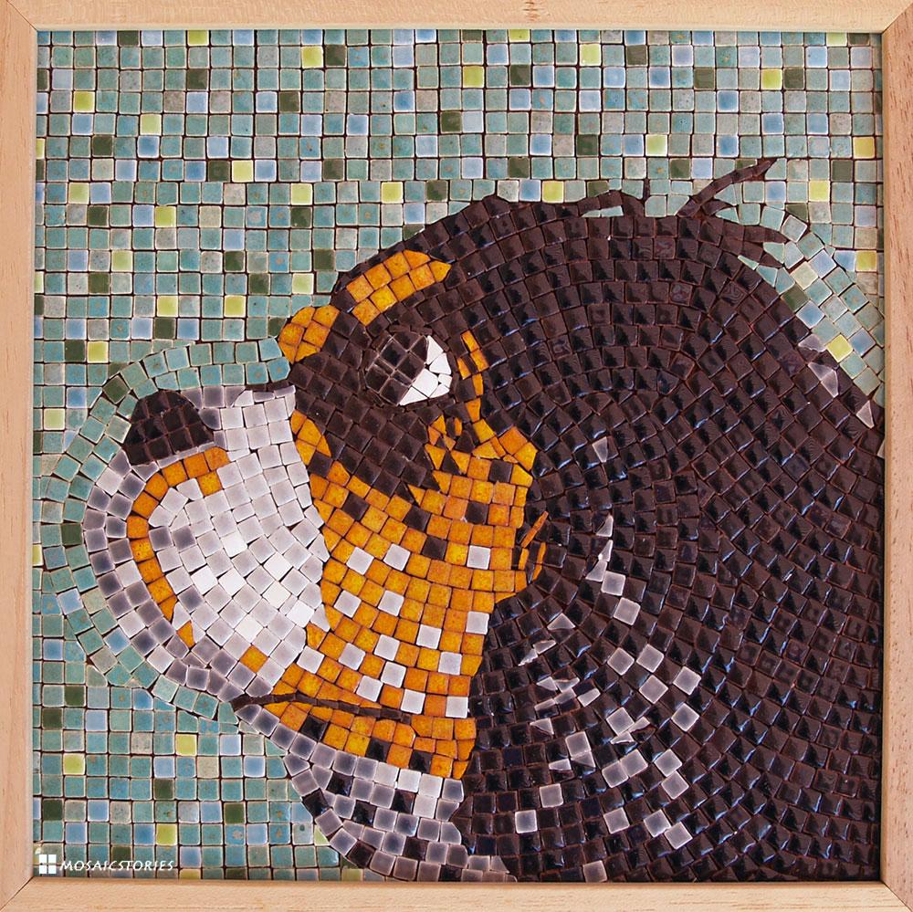 Mosaik Portraits Hund Keramik Steine
