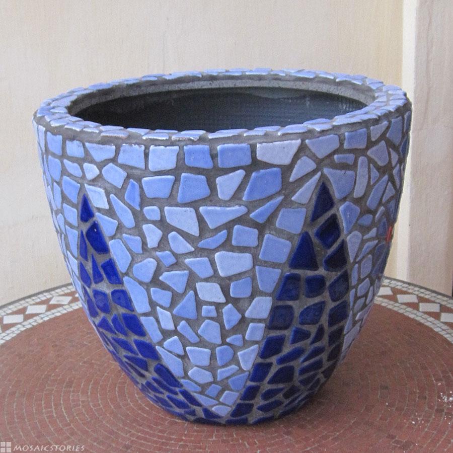 Flower Pot made from broken mosaic tiles